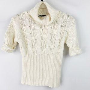 Planet Gold Ivory Short Sleeve Turtleneck Sweater